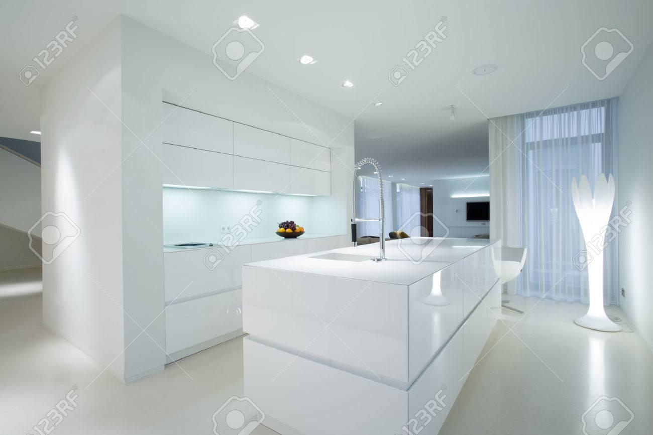 Horizontal View Of White Gleaming Kitchen Interior Stock Photo ...