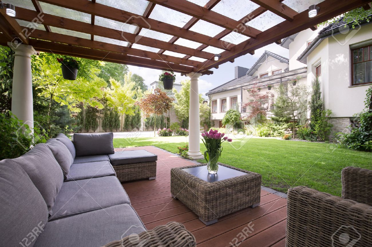 photo of luxury garden furniture at the patio stock photo 45135482