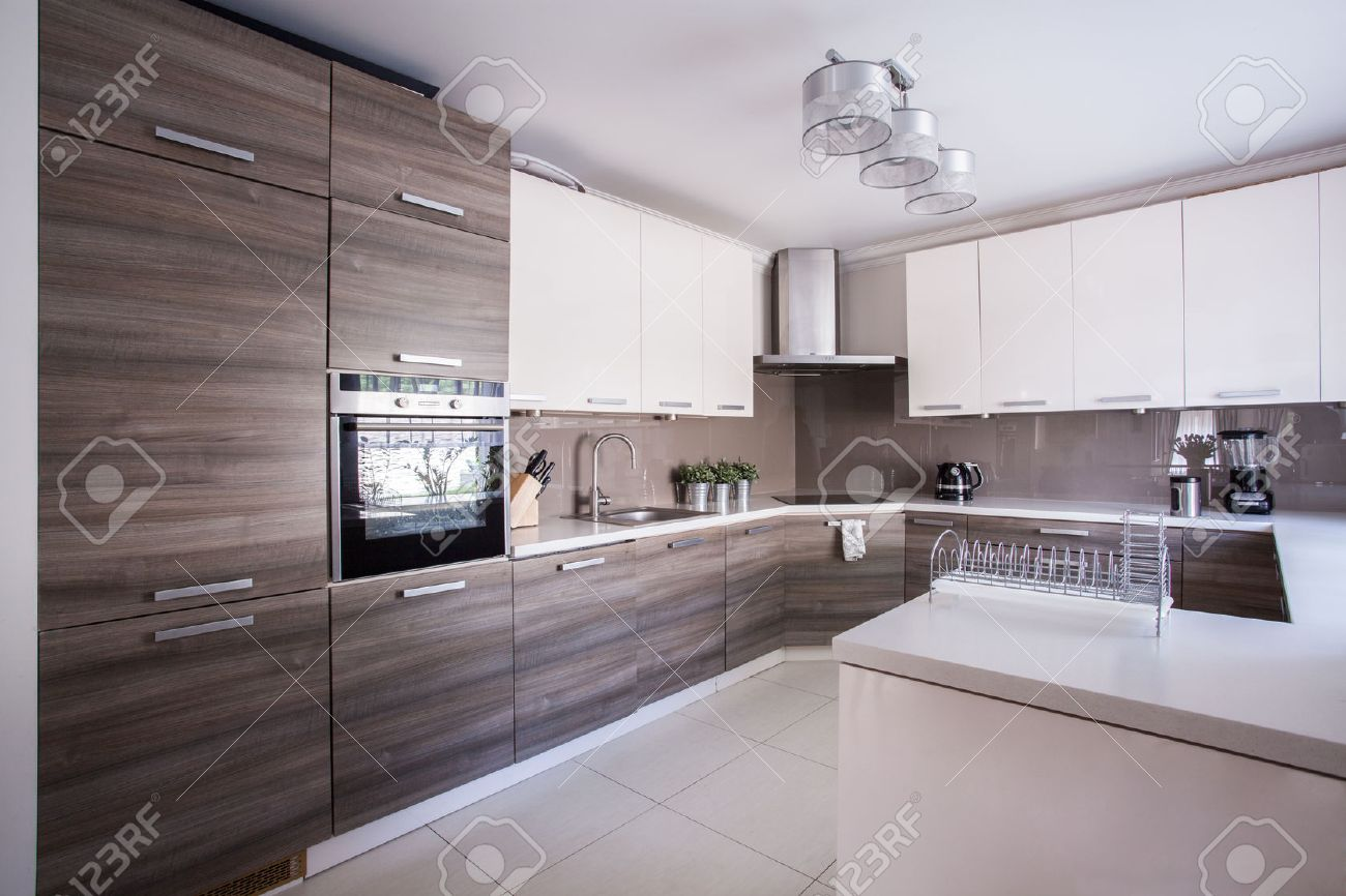 Luxury Kitchen Image Of Large Luxury Kitchen Furnished In Modern Design Stock