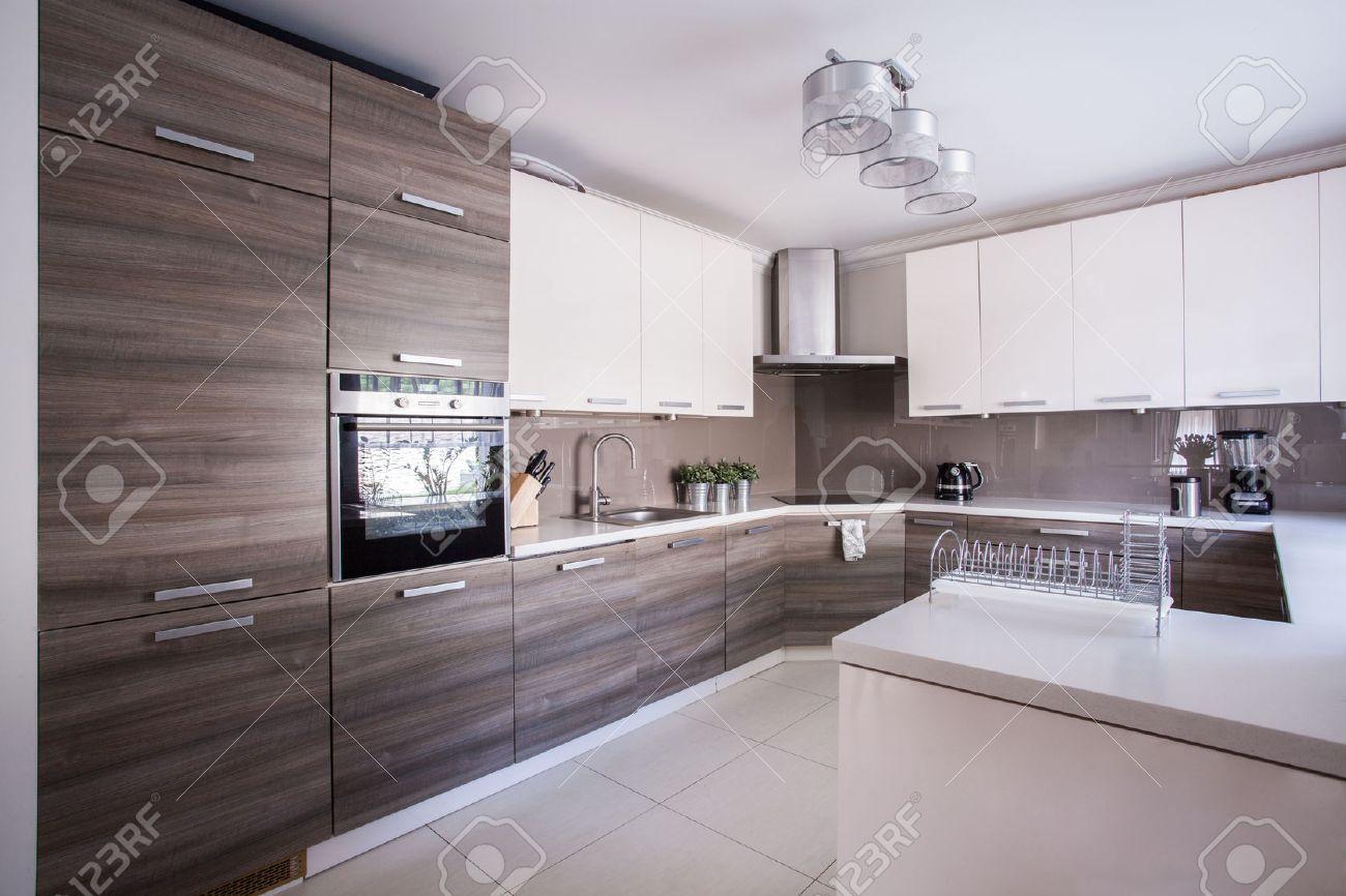Imagen de la gran cocina de lujo amueblado en el diseño moderno