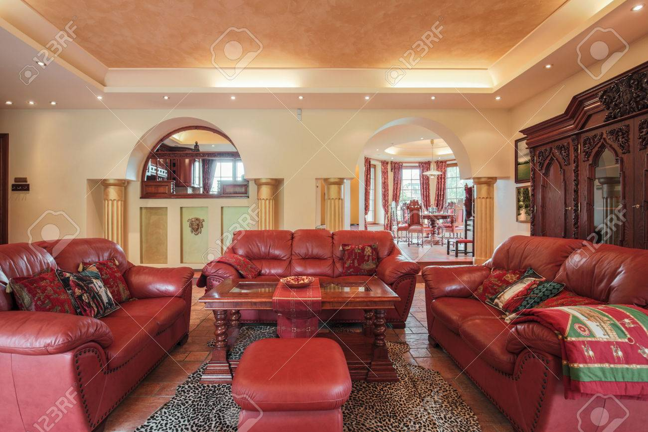 Photo Of Colonial Style Living Room With Leather Furniture Stock