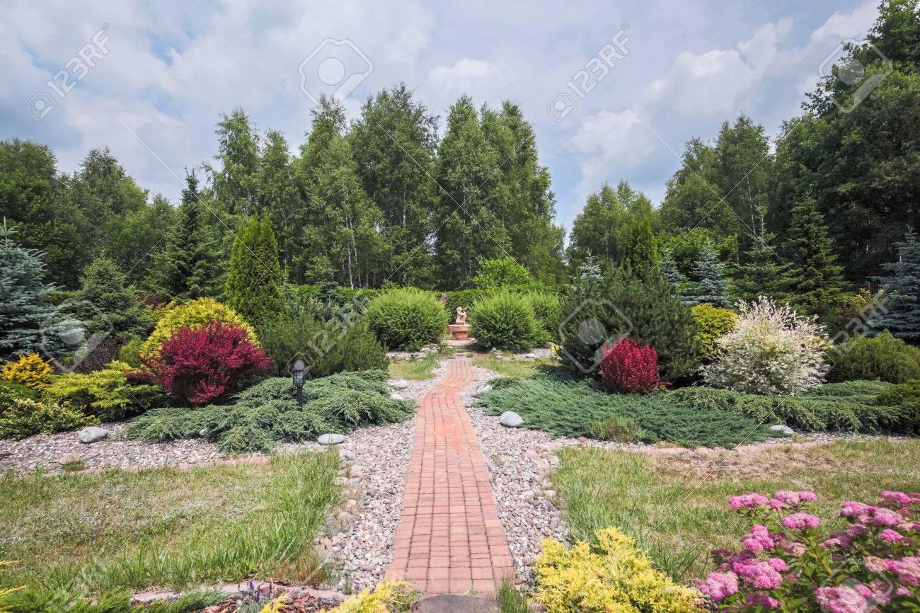 Photo De Beau Jardin Avec Des Arbustes En Fleurs Et Chemin Pavé ...