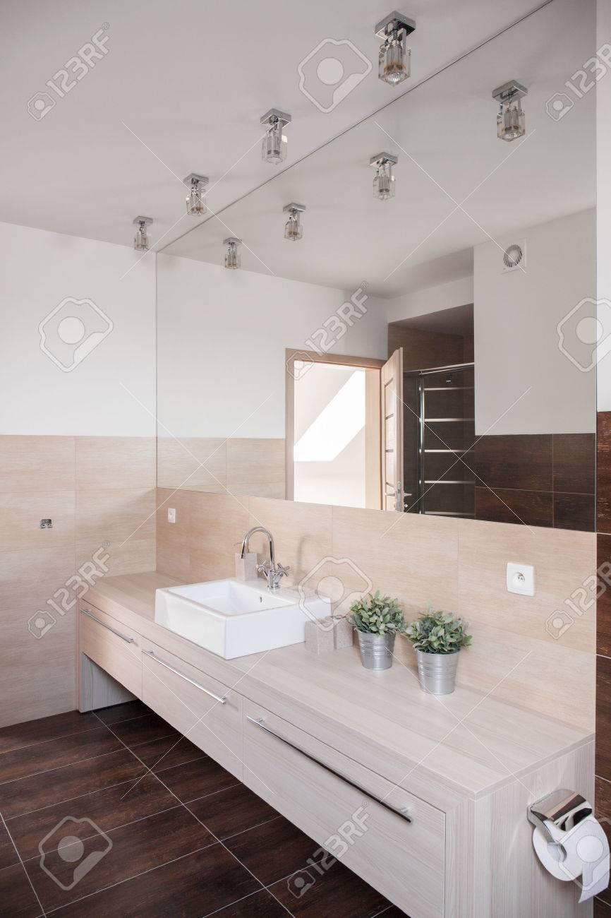 Photo De Nouveau Design Interieur De Salle De Bain Avec Grand Miroir