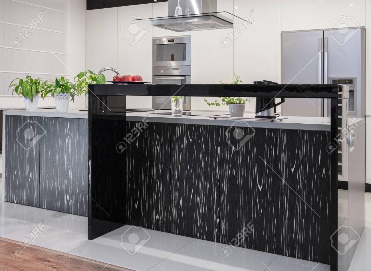 Foto Der Neuen Küche Mit Dekorativen Schwarzen Und Weißen ...