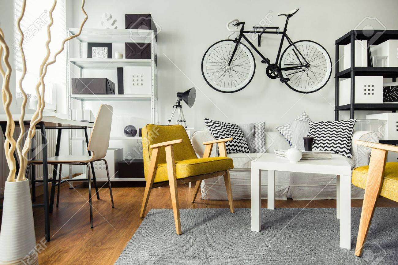 Interior Of Contemporary Living Room For Hipster Stock Photo ...
