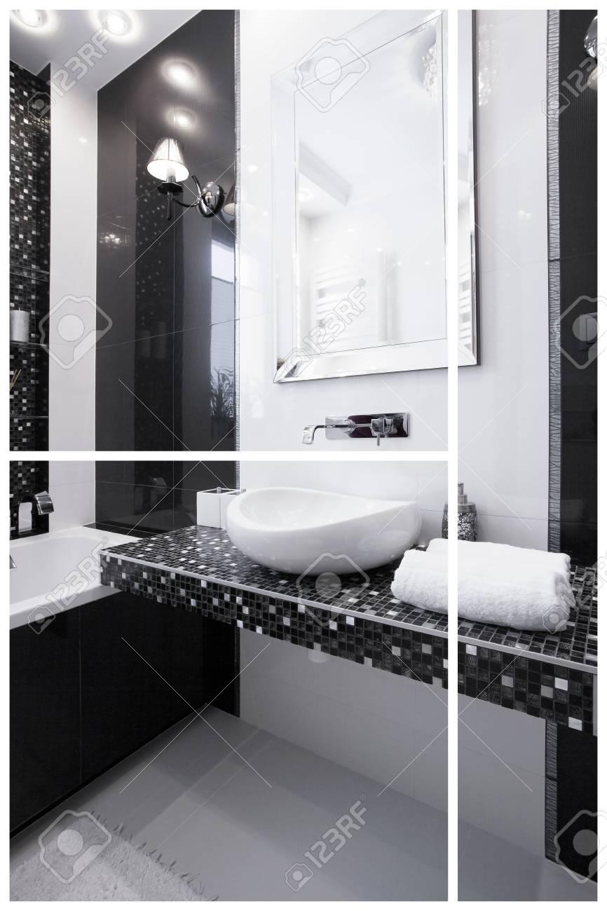 Innenansicht Der Schwarz Weiß Modernes Badezimmer Standard Bild   46200344