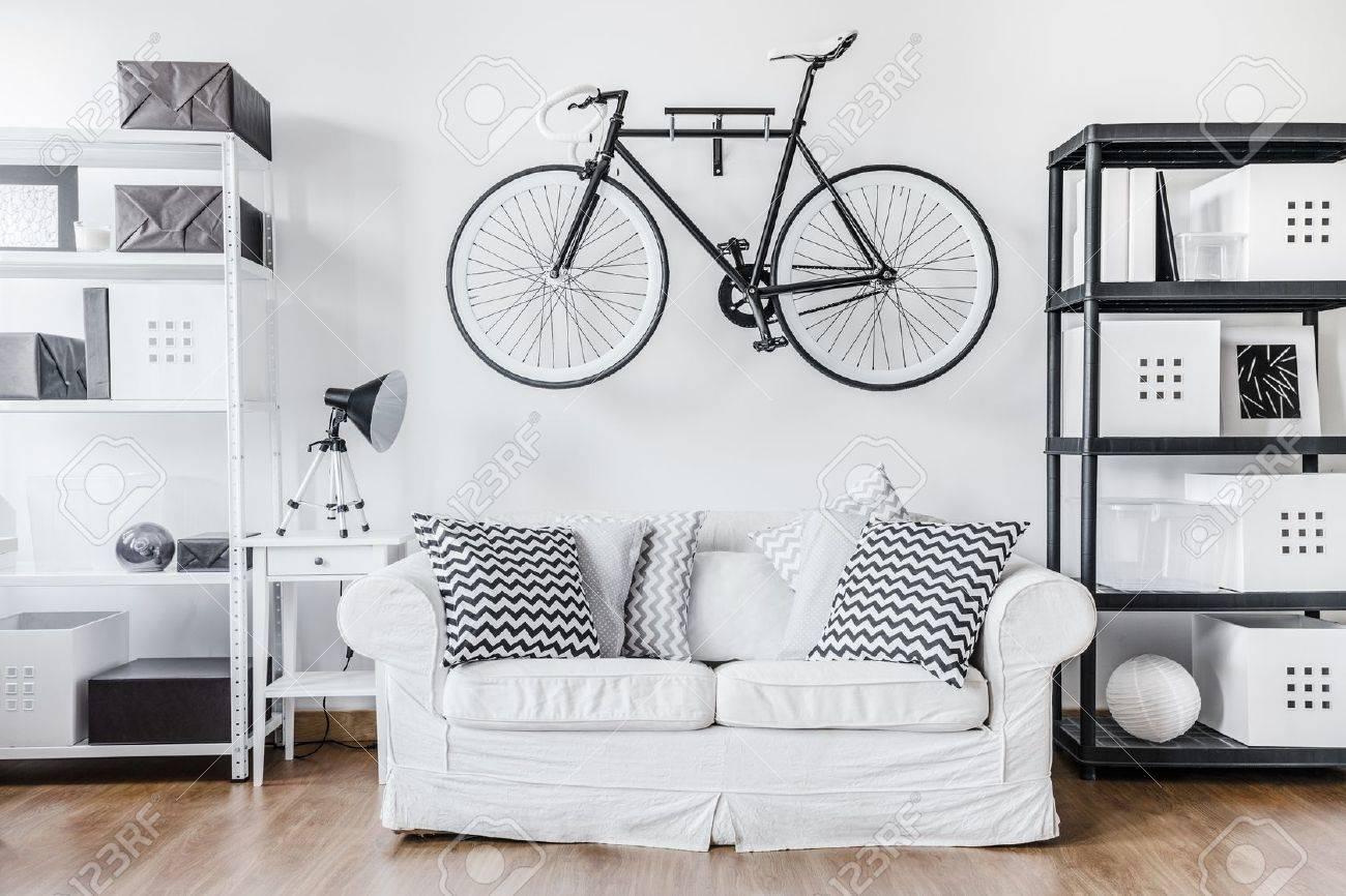 Black and white contemporary interior in minimalist style stock photo 46200361