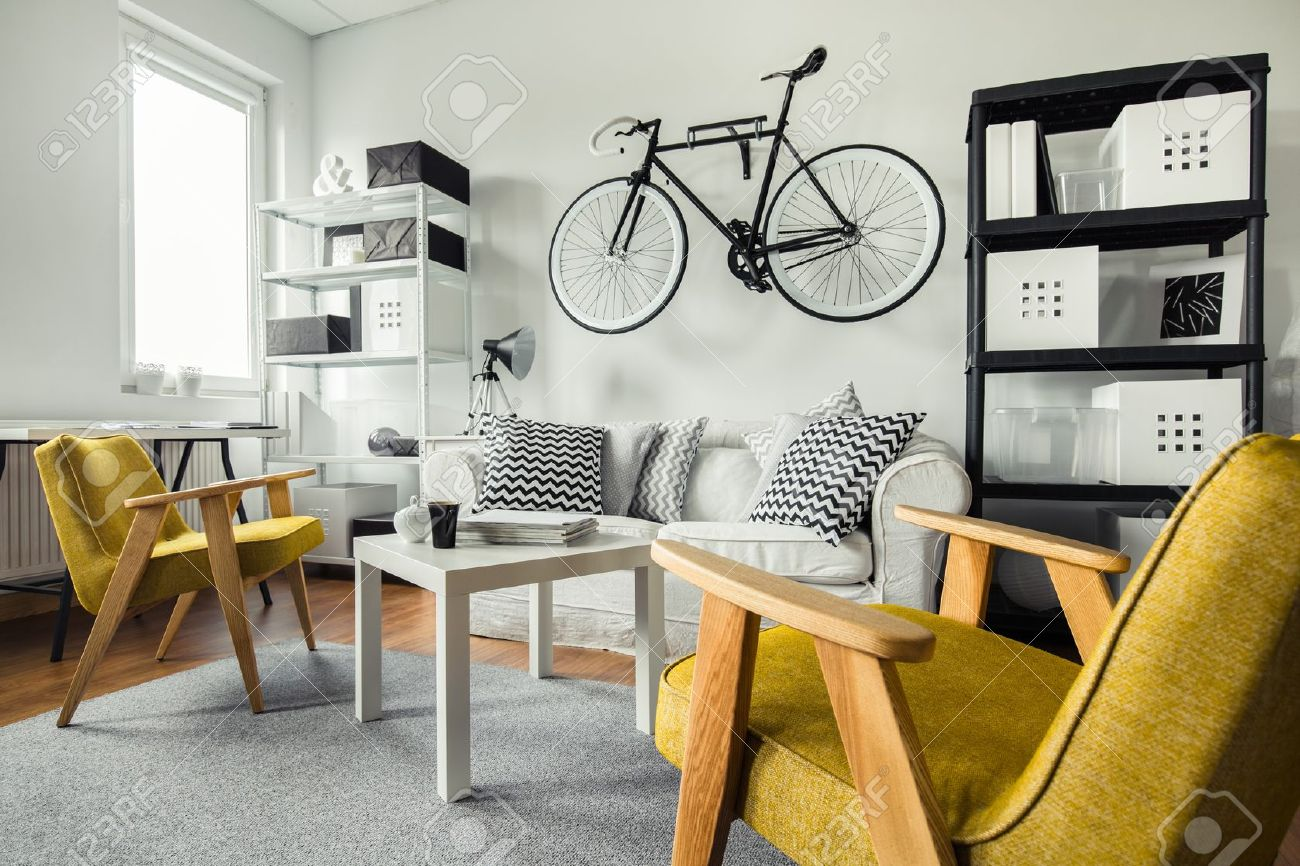 Modern Space   Yellow Armchairs In Black And White Living Room Stock Photo    46200746 Part 81