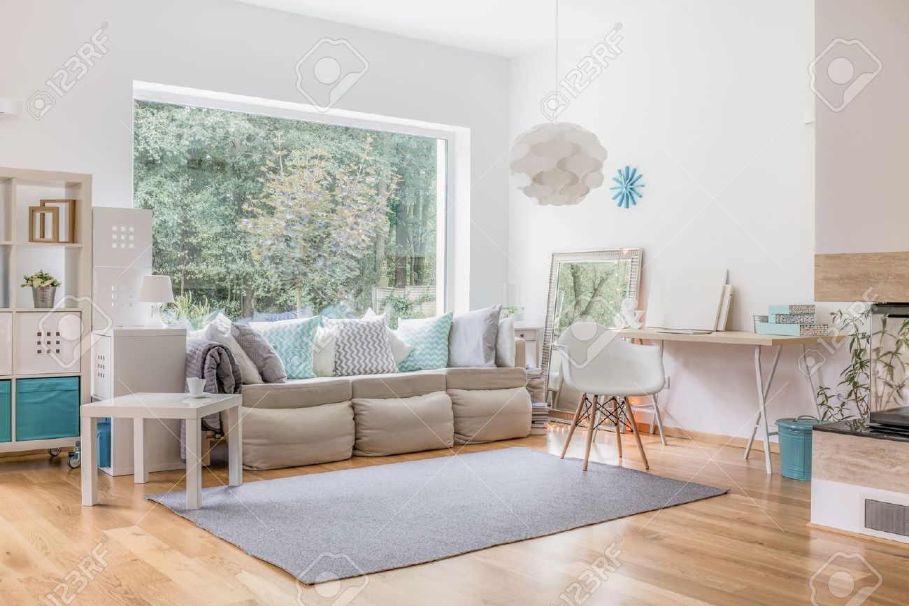 Cozy Bright Living Room And Big Window Stock Photo, Picture And ...