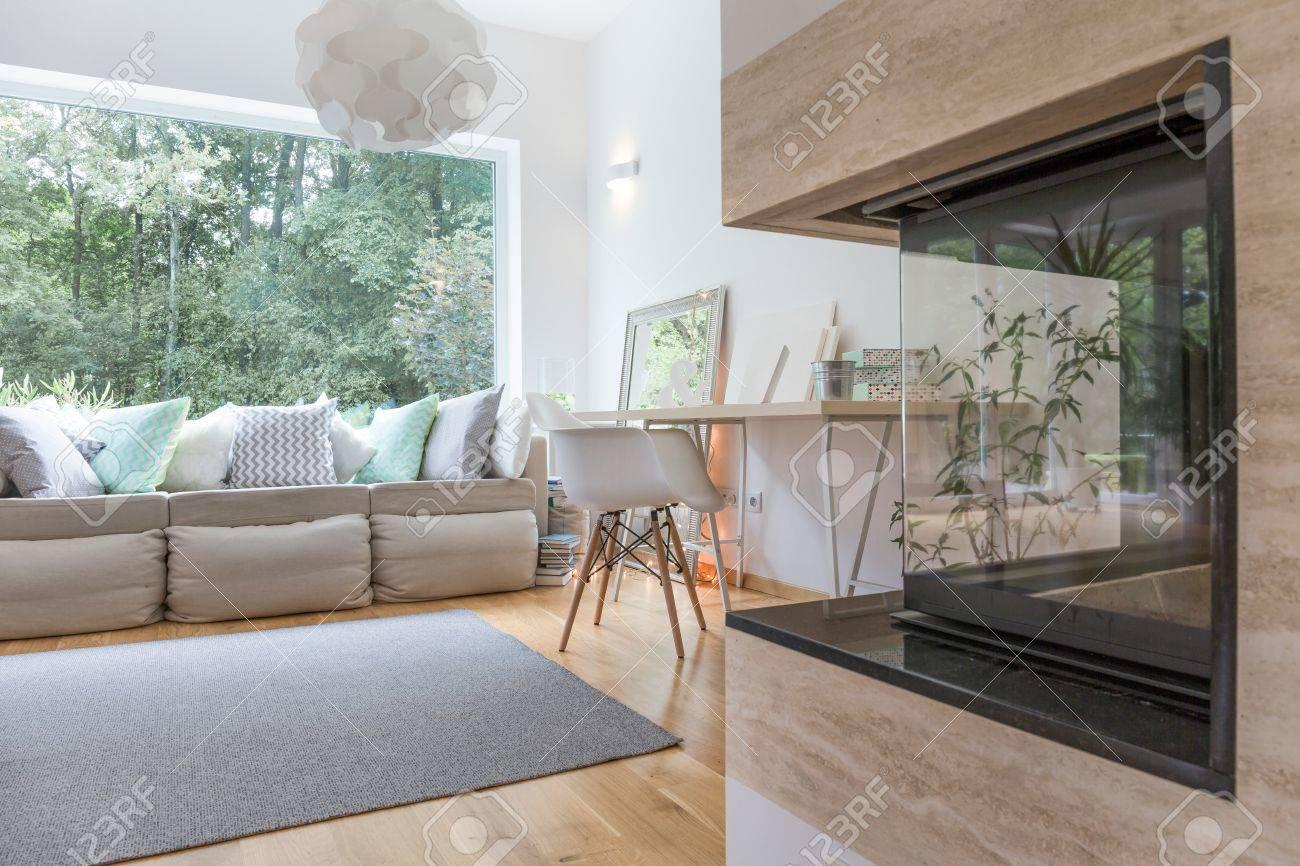 Cheminée moderne dans un salon spacieux sophistiqué