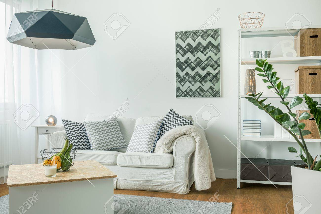 Very Bright Living Room With White Furniture Stock Photo, Picture ...