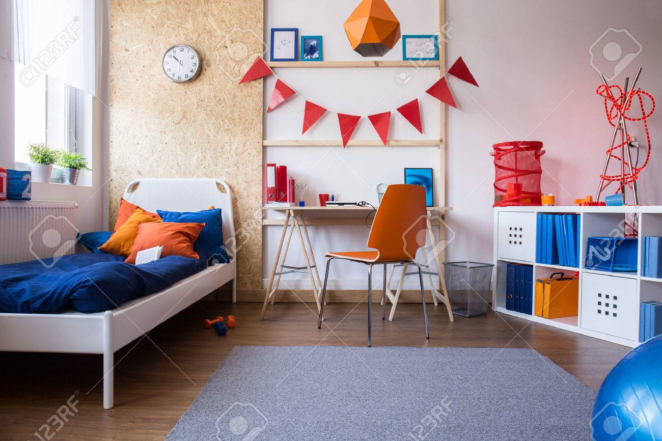 Modern teenage boys bedroom - Horizontal View Of Modern Teen Boy Bedroom Stock Photo 46990944