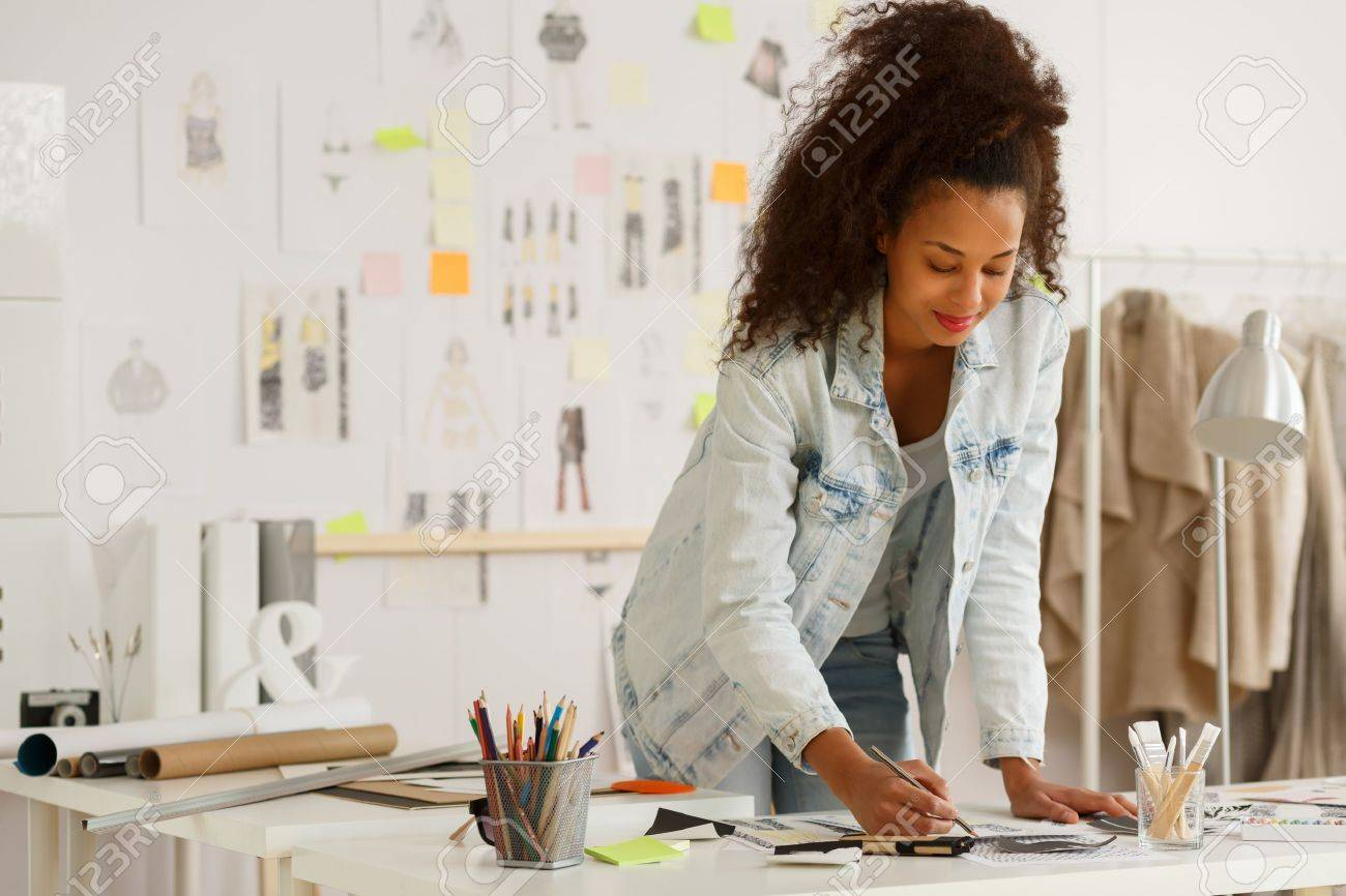 African American Fashion Designer Working In Atelier Stock Photo Picture And Royalty Free Image Image 47344378