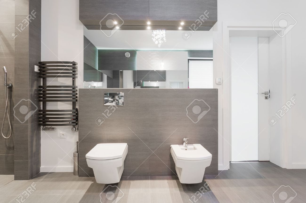 Expensive Shiny Modern Bathroom In Marble Tiles Stock Photo