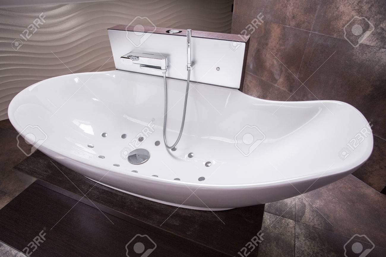 Close Up Of Luxurious Modern Bathtub With Hydro Massage Stock Photo ...