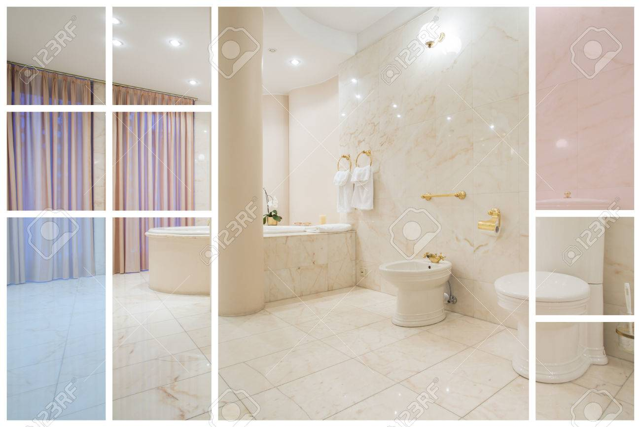 Luxurious Spacious Bathroom Designed In Greek Style Stock Photo ...