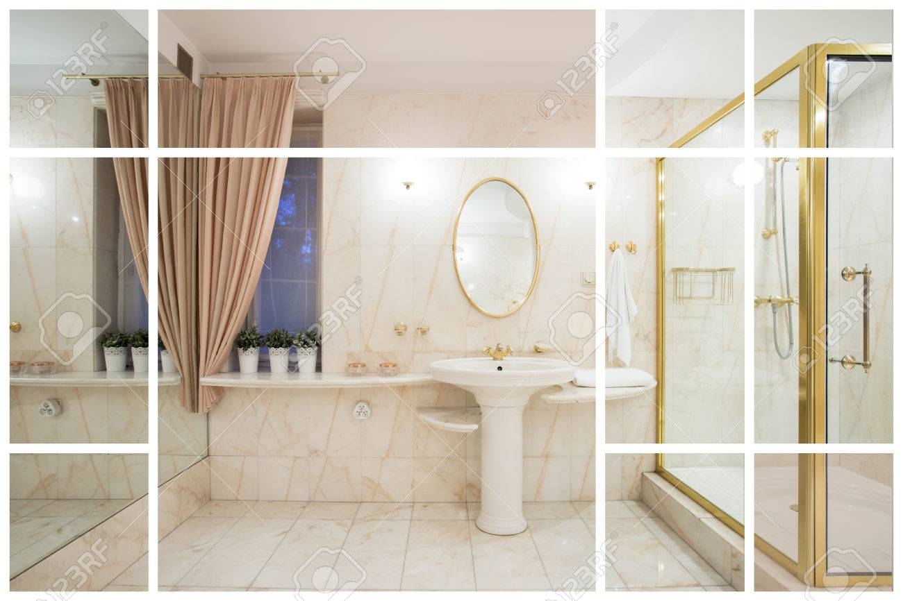 Large Luxurious Bathroom In Modern Expensive Apartment Stock Photo