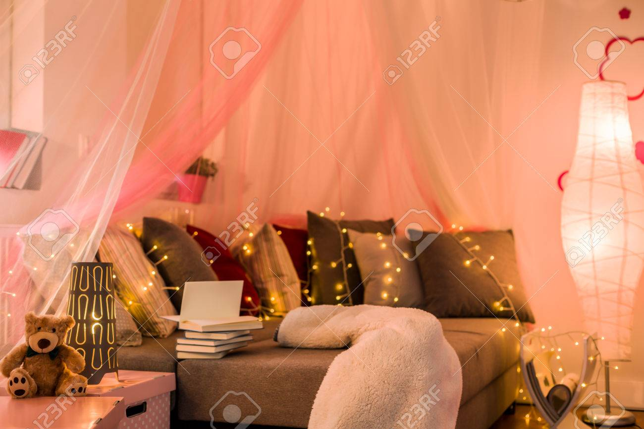 Fairy Lights And Baldachin In Teen Bedroom Stock Photo Picture - Fairy lights for teenage bedrooms