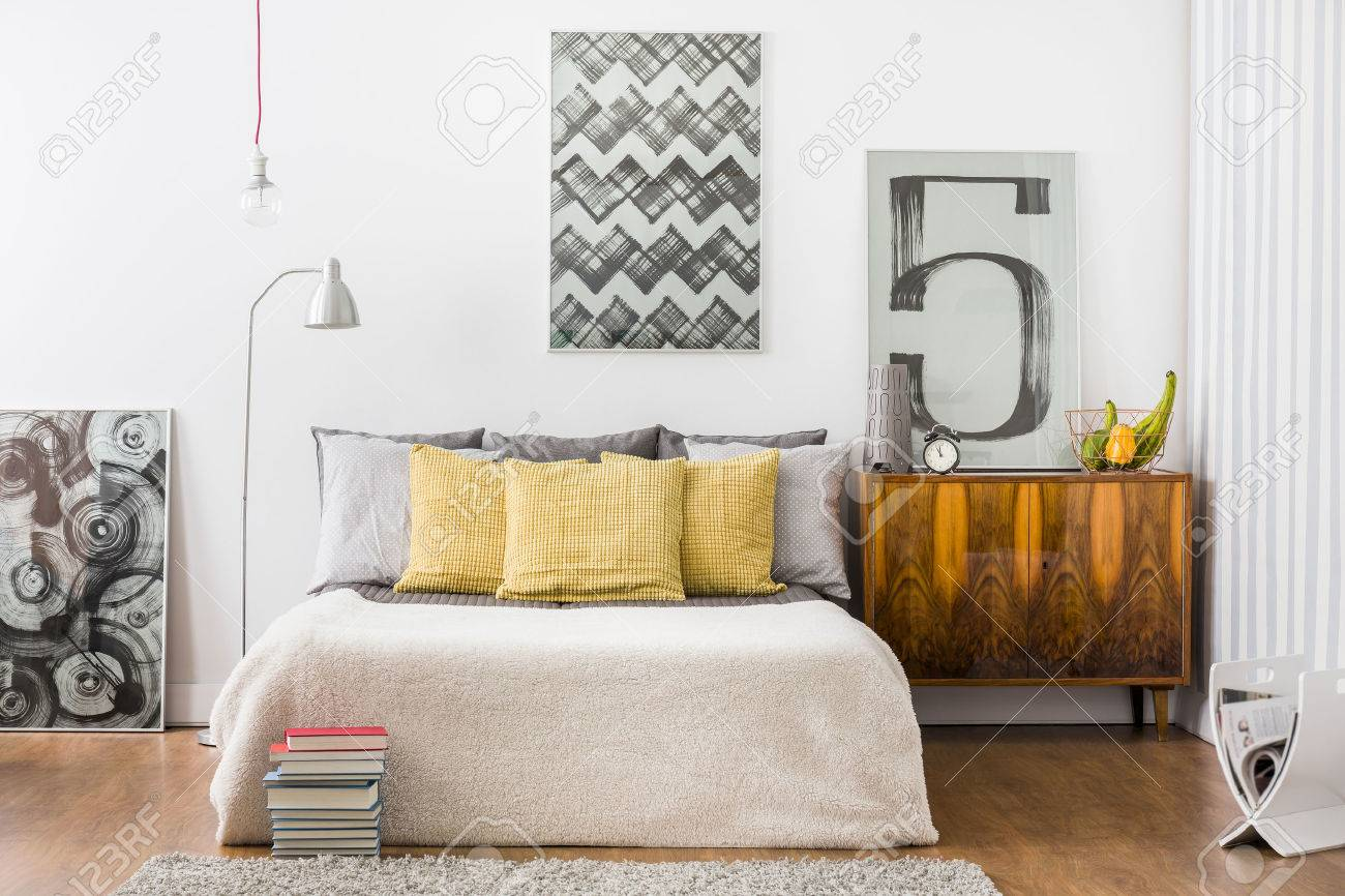 Horizontal view of bright snug bedroom interior - 50589291
