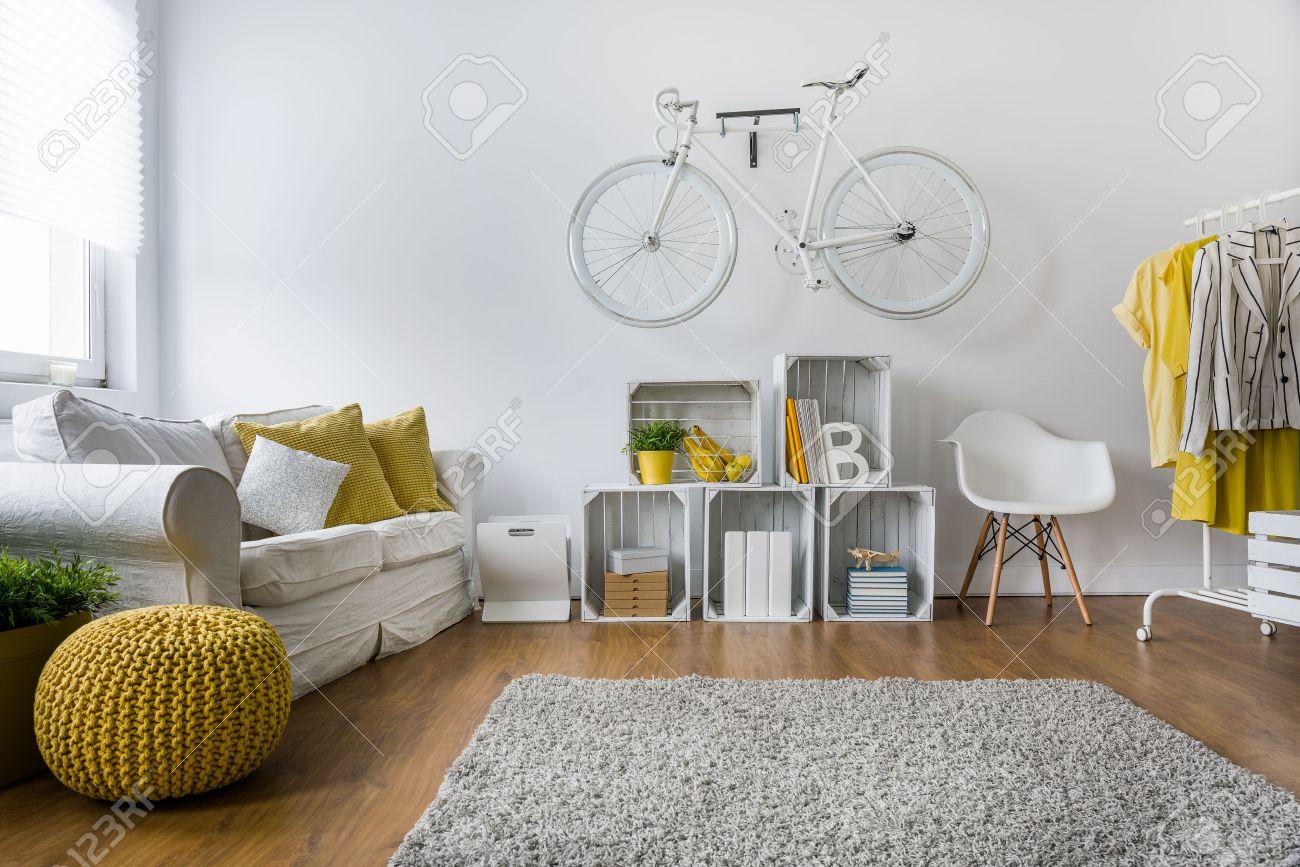 Modernes Wohnzimmer Mit Sofa, Teppich, Holzplatten Und Fahrrad An Der Wand  Hängen Standard