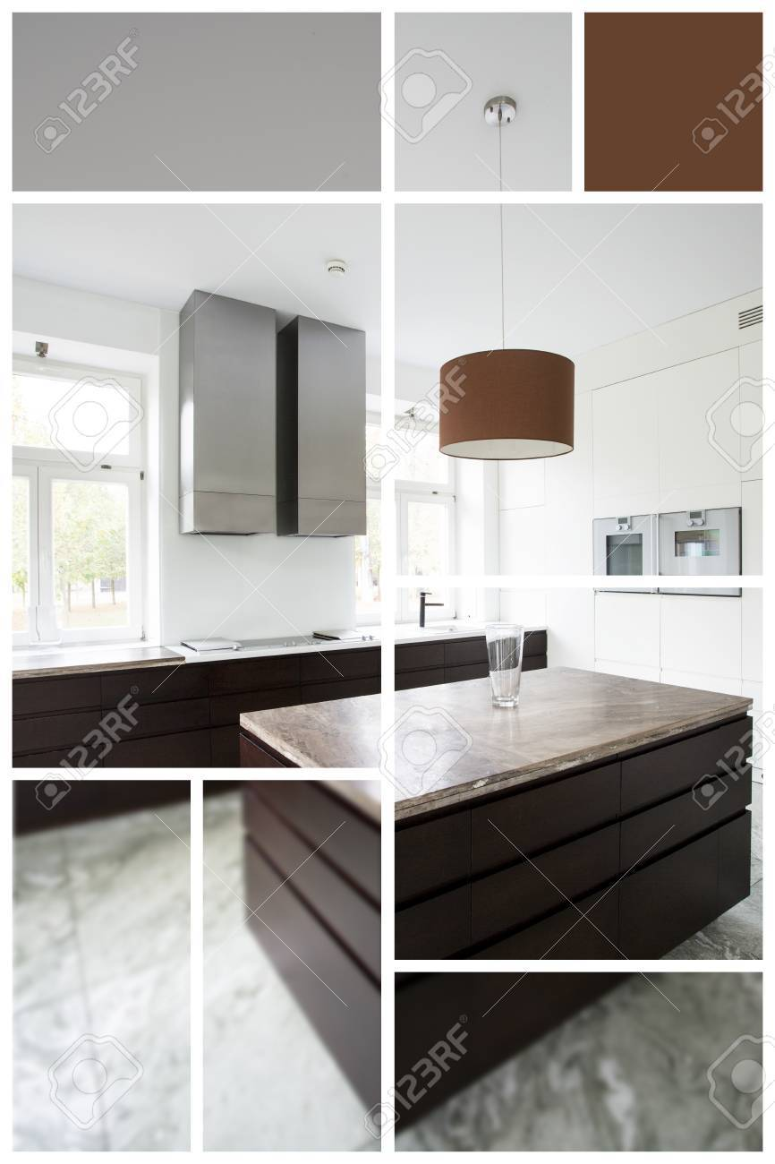 Contemporary Luxury Kitchen Interior Color Palette Above Stock