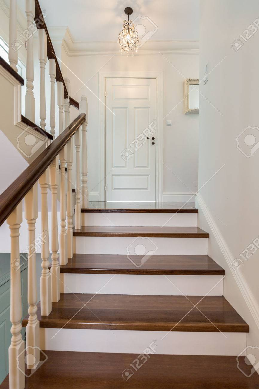 elegant and wooden stairs in the house stock photo 52250557 - Wooden Stairs