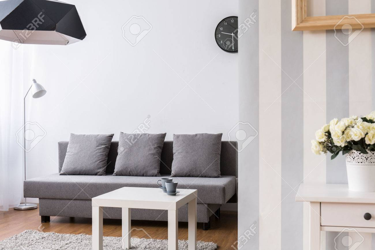 Modern Living Room With Large Grey Sofa And Small Coffee Table