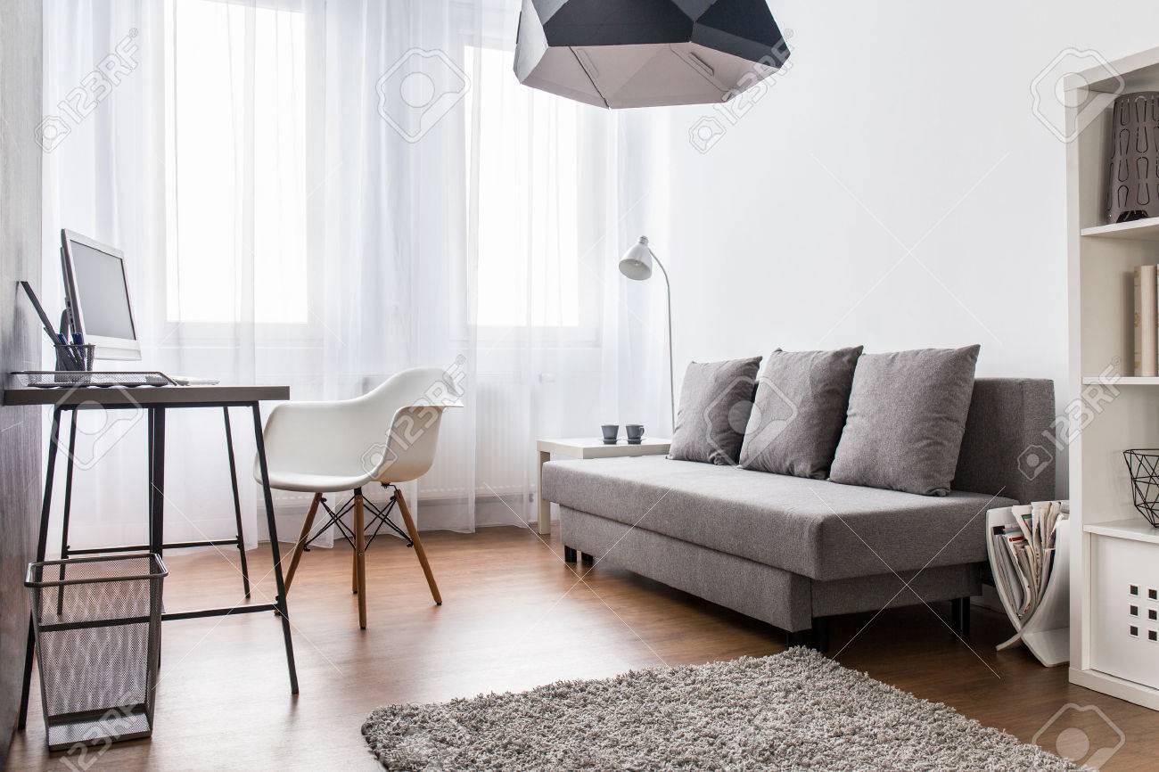 Moderne salon lumière et bureau à domicile combinés intérieur