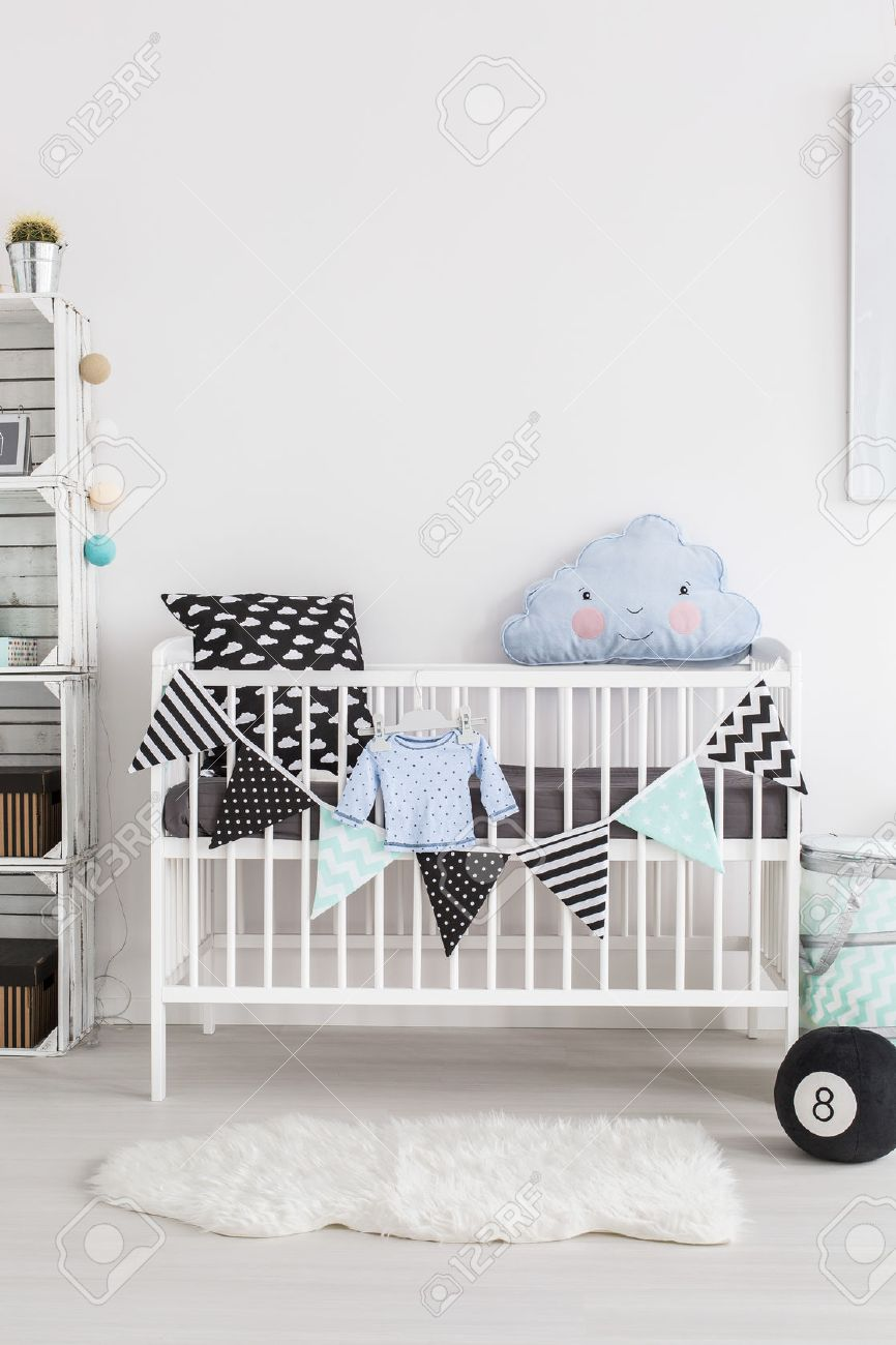 Uncategorized Scandinavian Crib shot of a crib in scandinavian style baby room stock photo 53781401