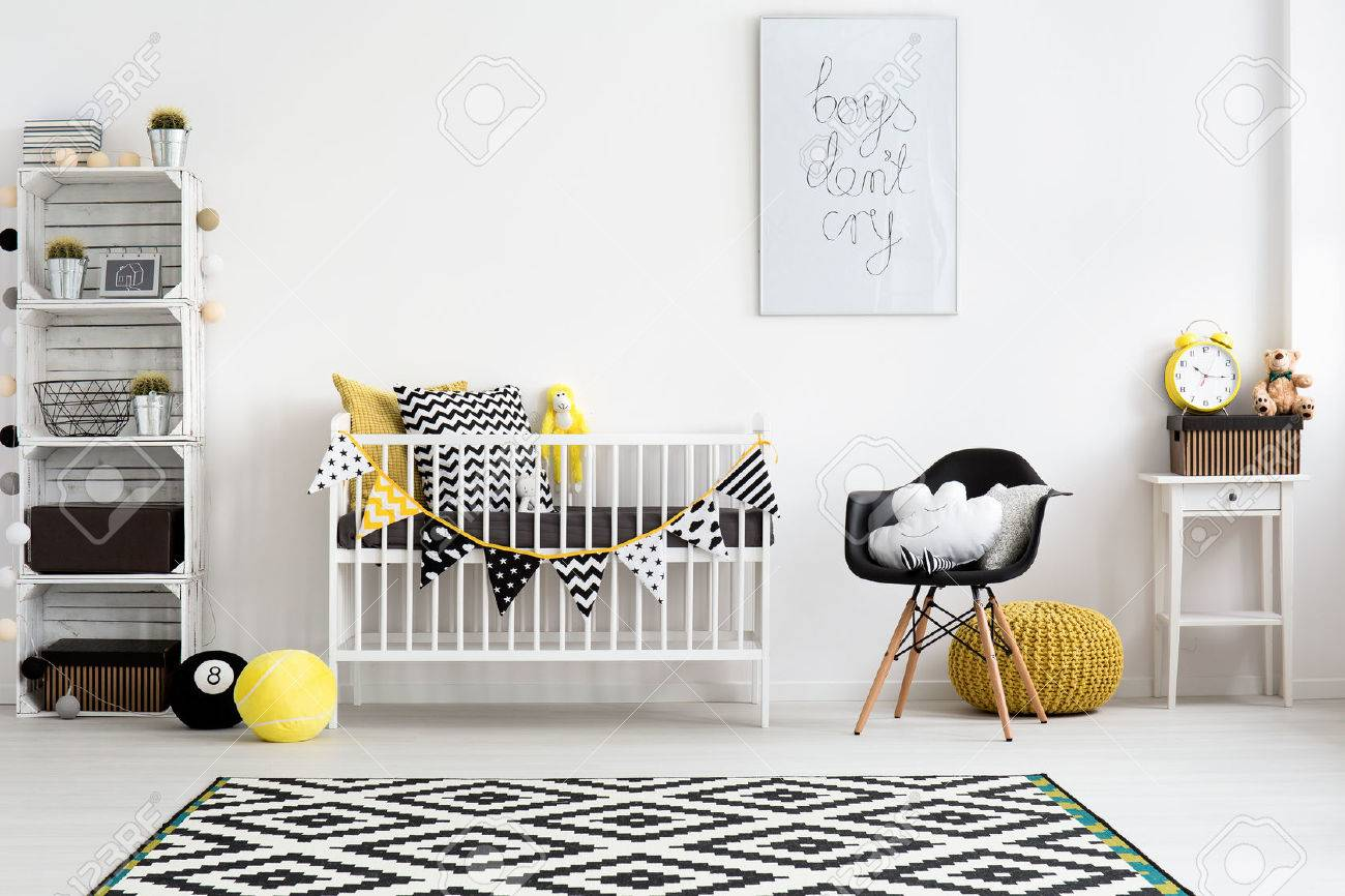 Beeld van een moderne babykamer ontworpen in scandinavische stijl ...