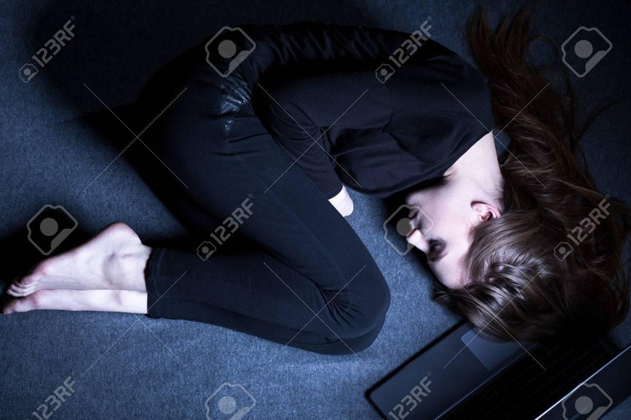 Girl In Dark Room