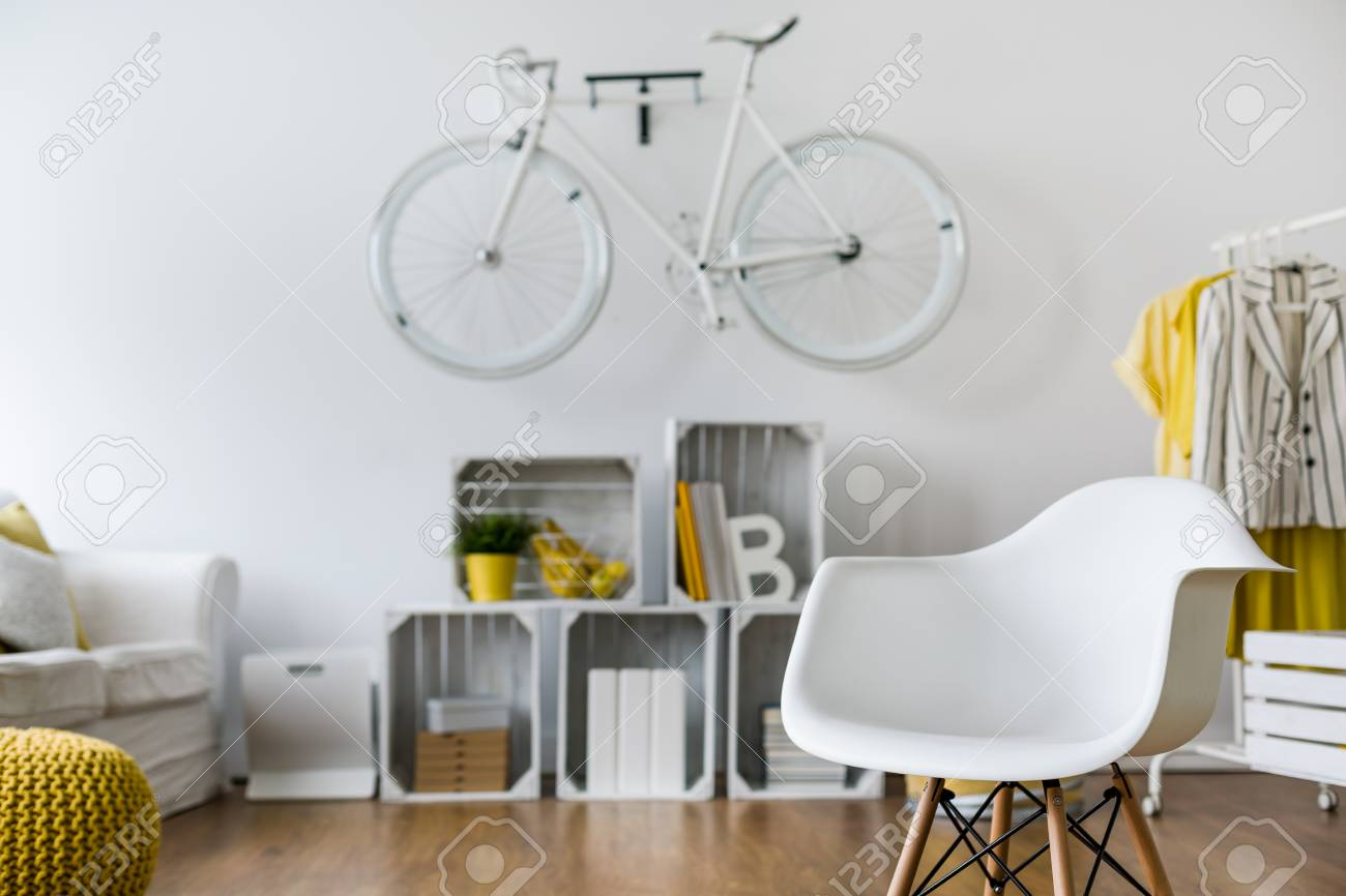 Close-up Of White Armchair In Spacious Living Room. In The ...