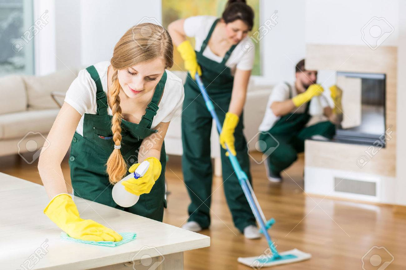 Merveilleux Group Of Friends As A Professional Cleaners Tiding Up Big Apartment Stock  Photo   54190295