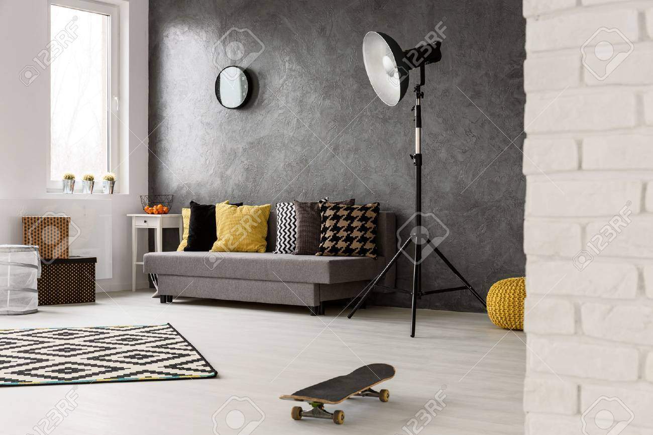 Stylish Grey Living Room With Sofa Chairs Standing Lamp And