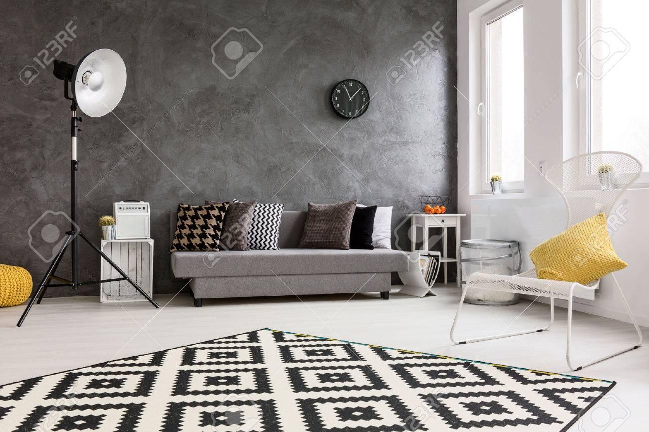 Spacieux Salon Gris Avec Canape Chaise Lampadaire Moderne Petite