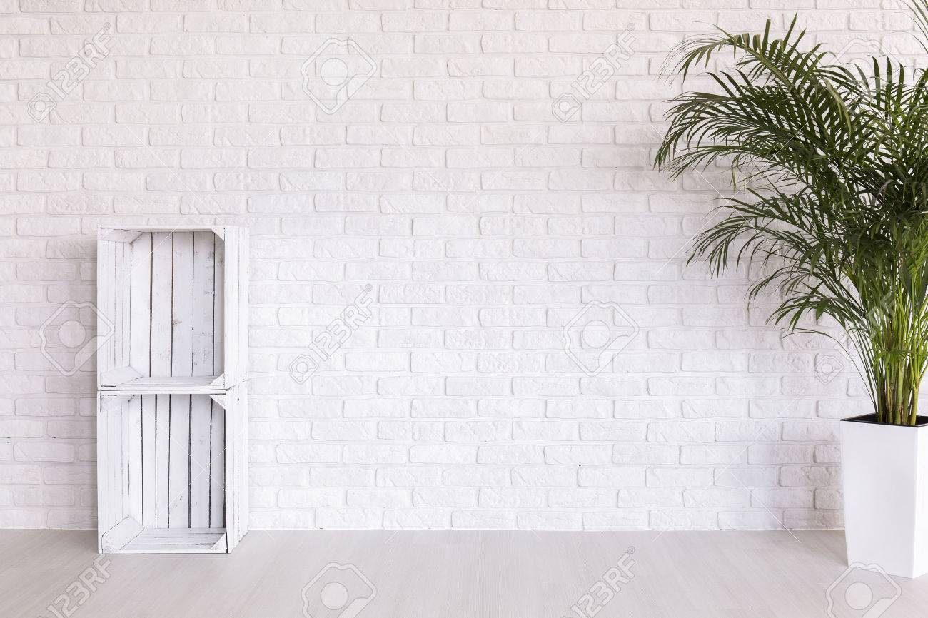 DIY regale made from wood boxes and plant in decorative plant standing in white interior with light flooring and brick wall - 54992049