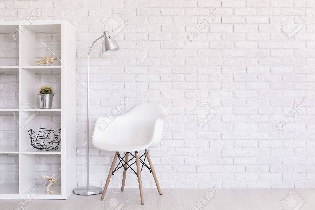 White Regale With Home Decorations, Standing Lamp And Modern.. Stock ...