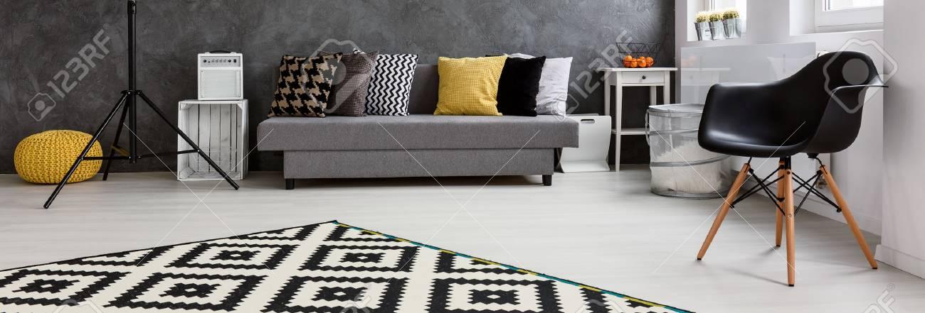 Panorama d\'un salon lumineux dans le style scandinave, organisé en gris et  blanc