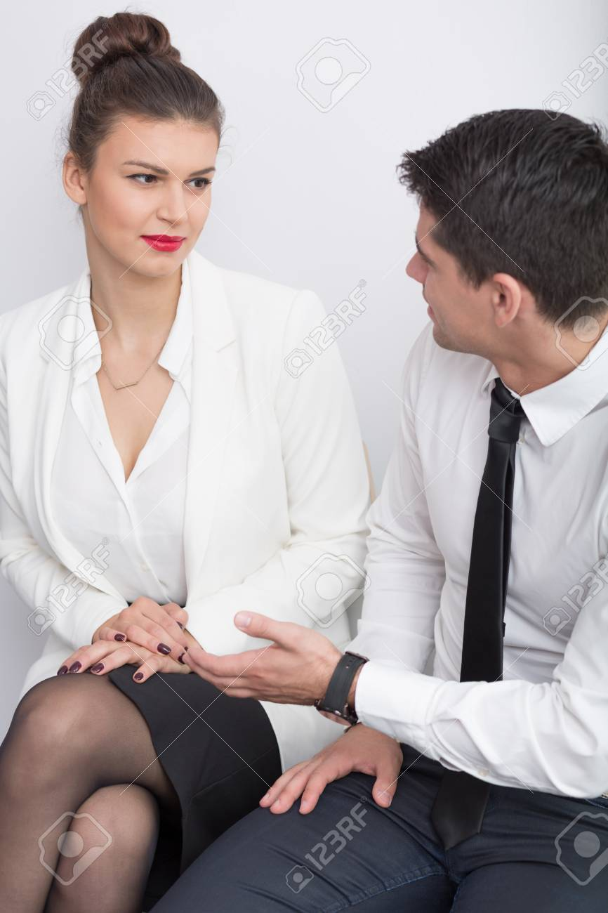 509eb0dceed0 Man and woman talking line for job interview Stock Photo - 55450256