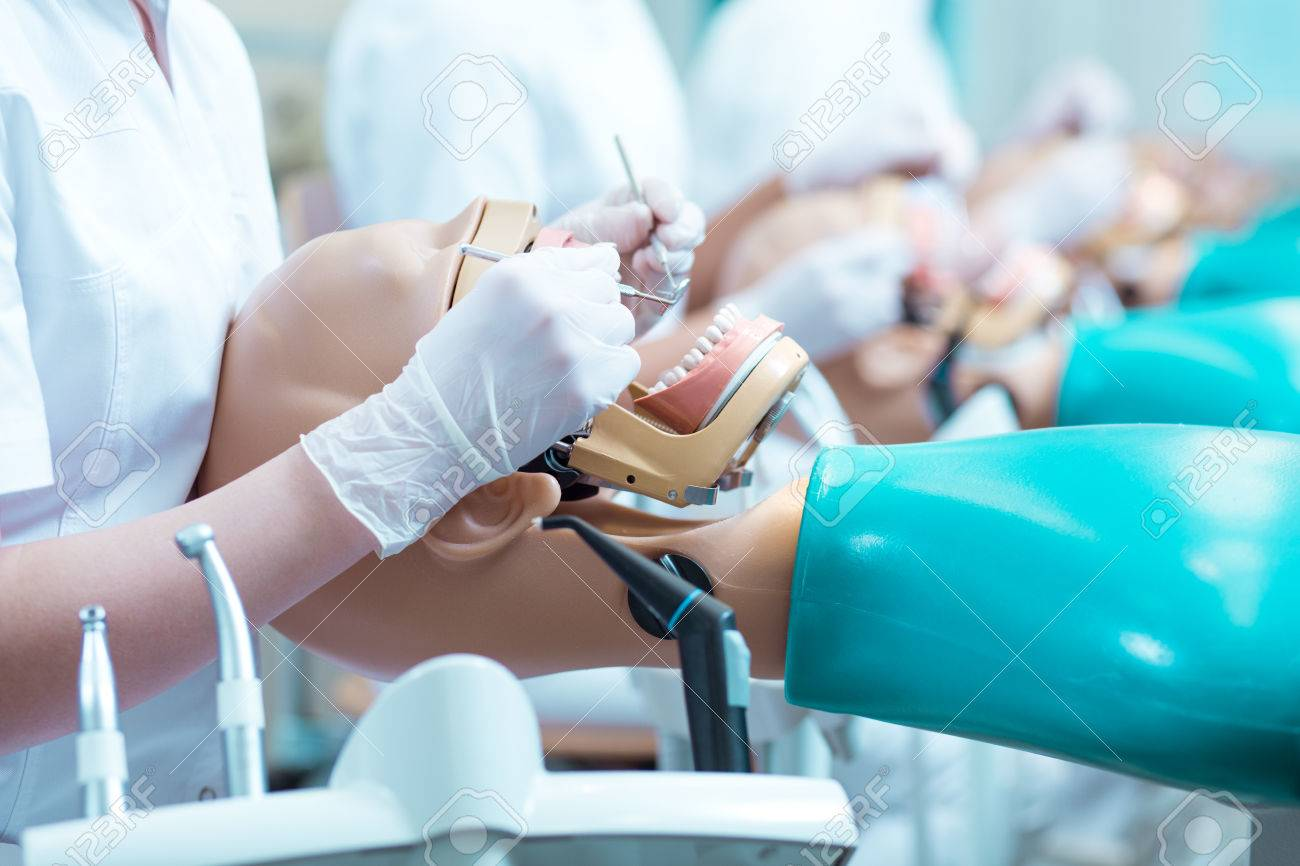 Close-up Der Zahnmedizin-Student In Handschuhe Während Des ...