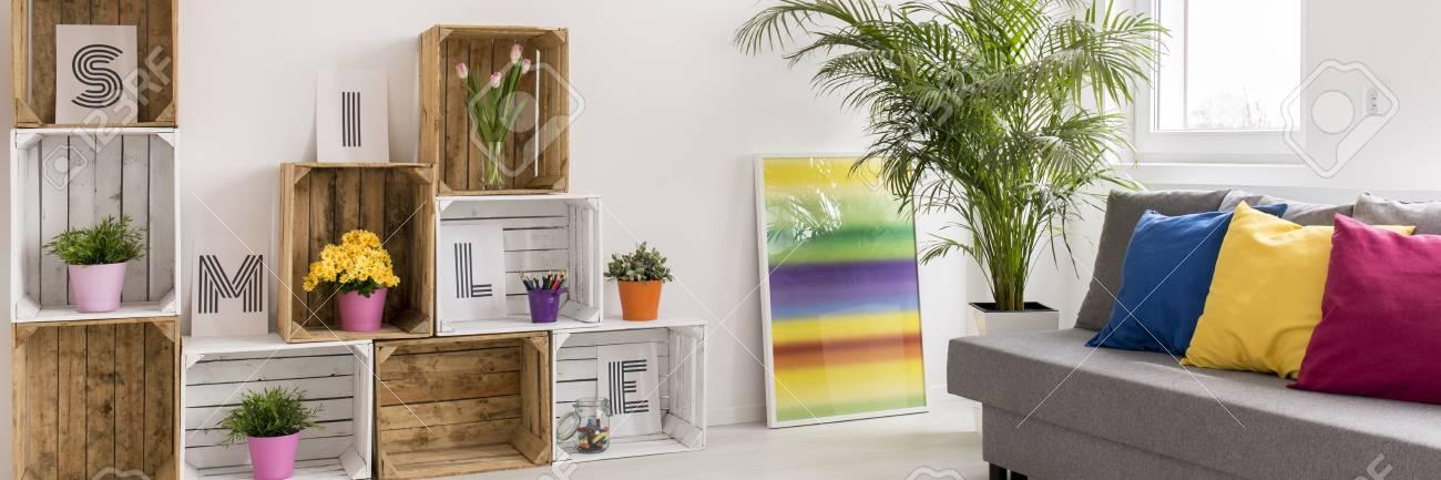 Plan d\'un salon moderne coloré