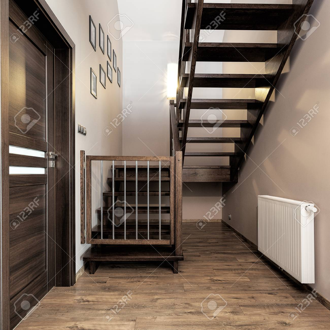 Urban Apartment Wooden Stairs With Baby Safety Gate Stock Photo