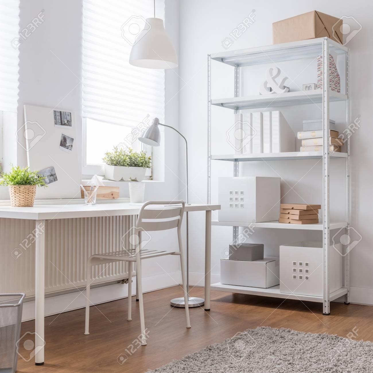 White Minimalist Design In Modern Home Office Stock Photo, Picture ...