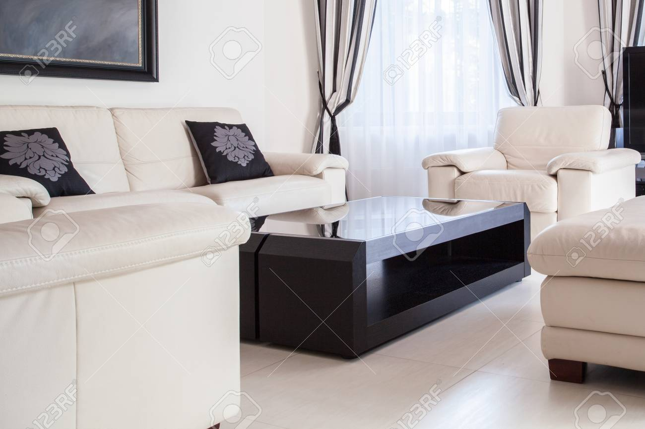 Cream lounge set in modern sitting room stock photo picture and