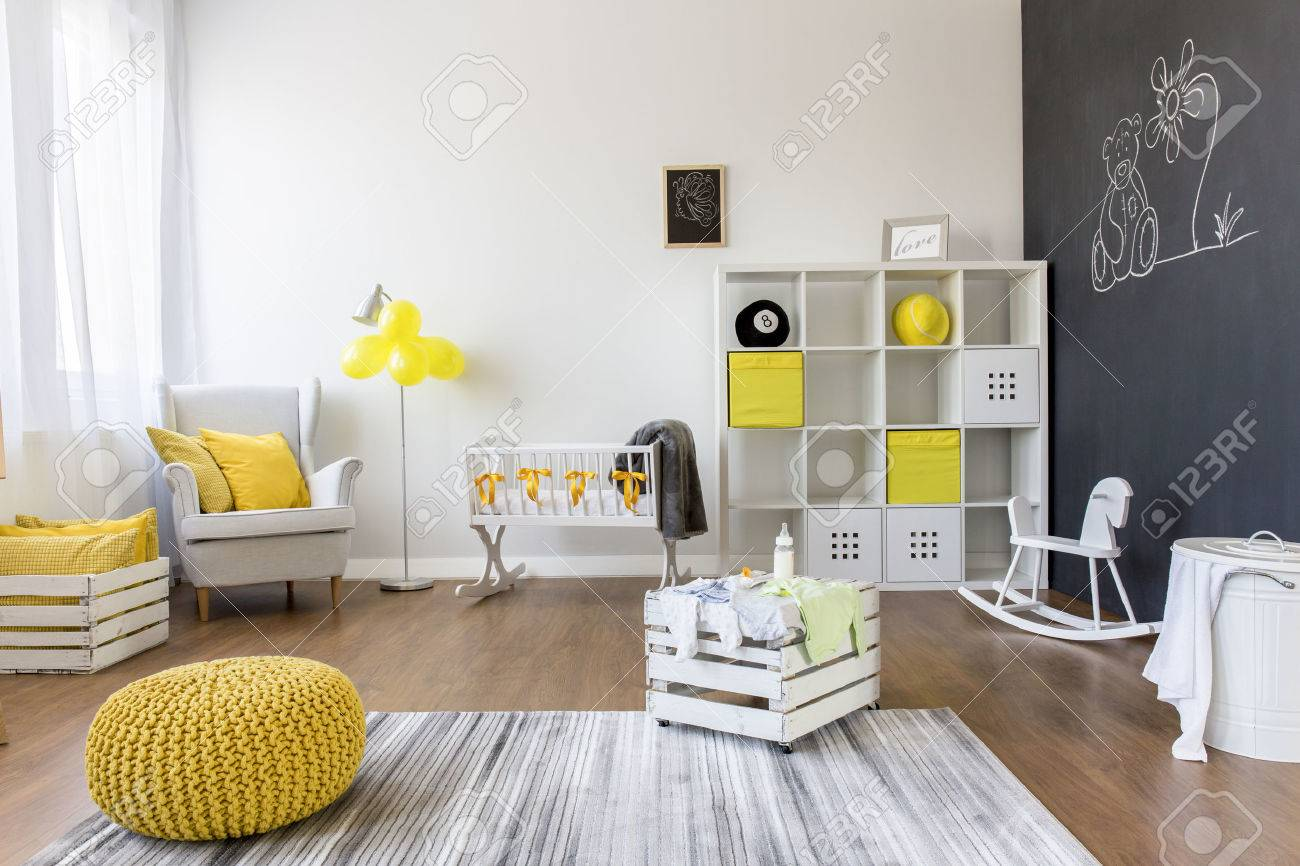 Shot Of A Creative Baby Room With A Blackboard Wall Stock Photo ...