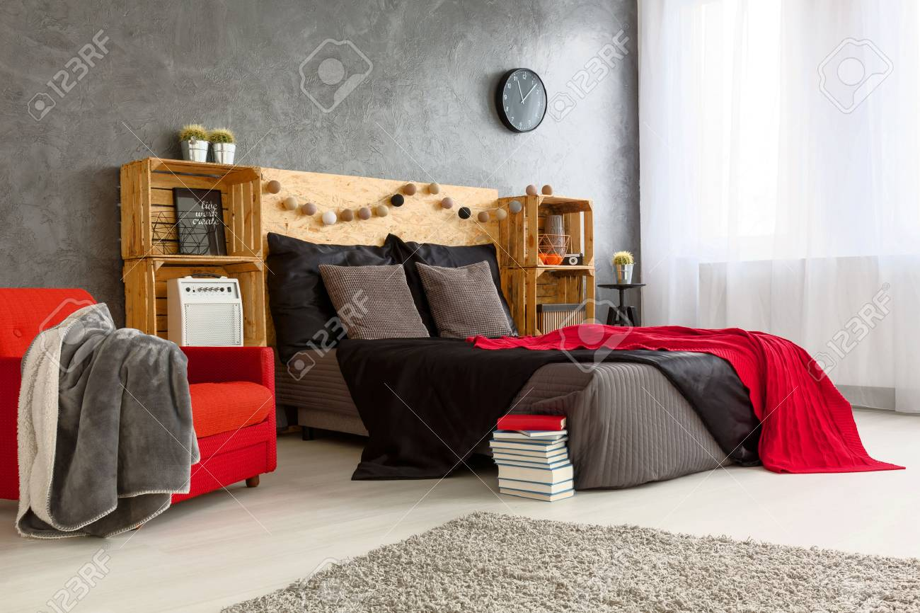 Modern Stylish Design Of Spacious Bedroom. Grey Walls And Grey And Red Bed  With Wooden