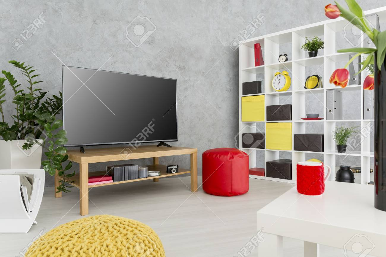 Contemporary Spacious Living Room With Grey Stucco Wall And A Stock Photo Picture And Royalty Free Image Image 60595318