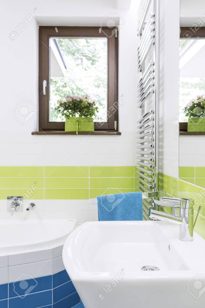 Plan D\'une Salle De Bains Moderne Et Colorée Avec Une Baignoire D ...