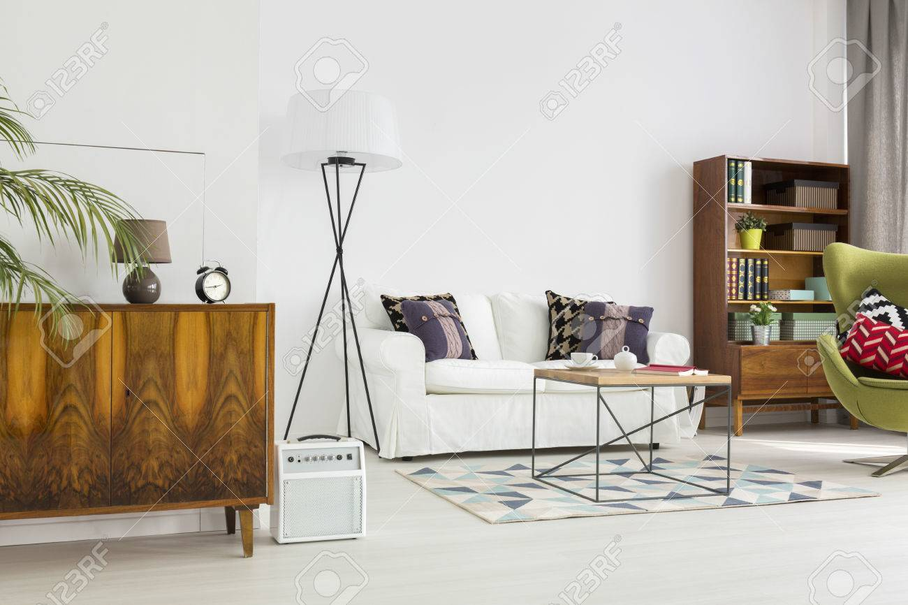 Stock Photo   Stylish Living Room In White, With A Set Of Modernist  Furniture