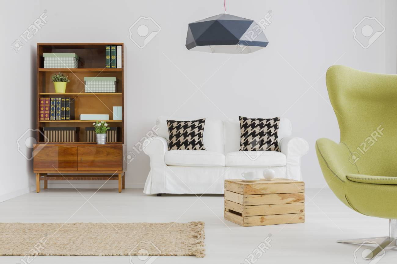 Contemporary Apartment In White, With Wooden Box Coffee Table ...